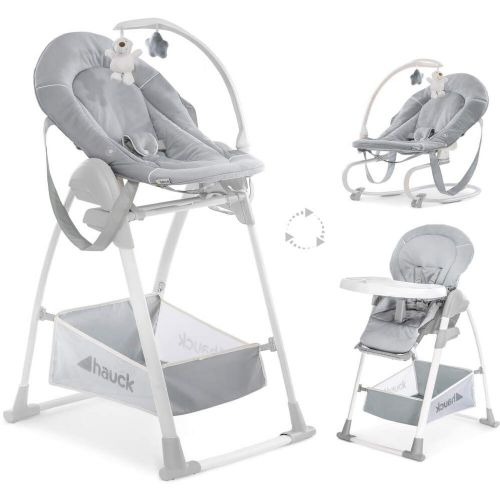 NEW Hauck Sit'n relax 3 in1 zoomy baby highchair+bungee Bouncer Stretch Grey